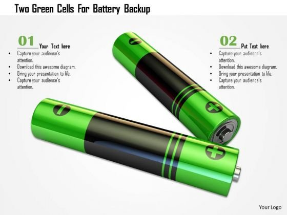 Stock Photo Two Green Cells For Battery Backup PowerPoint Slide