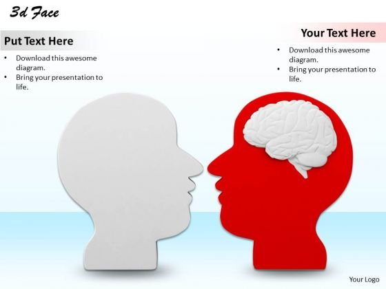 Stock Photo Two Human Faces With Brain Text PowerPoint Slide