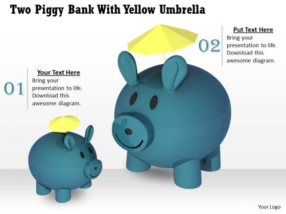 Stock Photo Two Piggy Banks With Yellow Umbrellas PowerPoint Slide