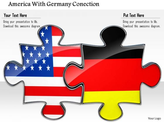 Stock Photo Us And Germany Union Flag Puzzle PowerPoint Slide
