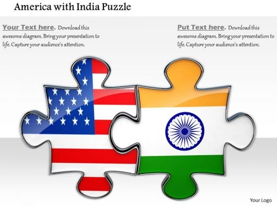Stock Photo Us And India Flag Design Puzzle PowerPoint Slide