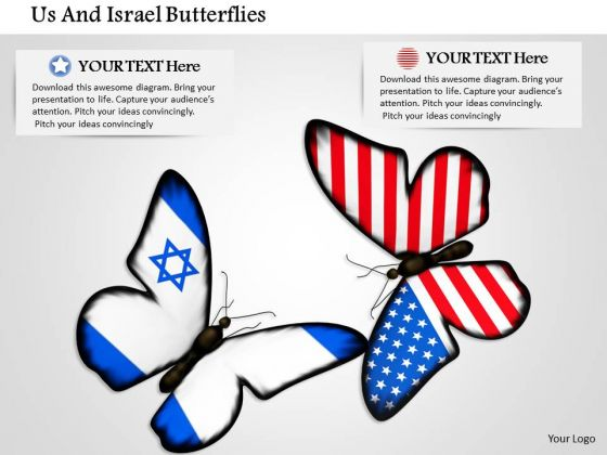 Stock Photo Us And Israel Butterflies PowerPoint Slide