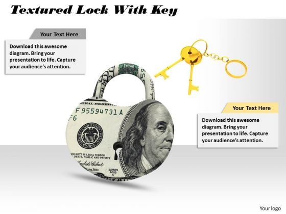 Stock Photo Us Dollar Lock With Golden Keys Pwerpoint Slide