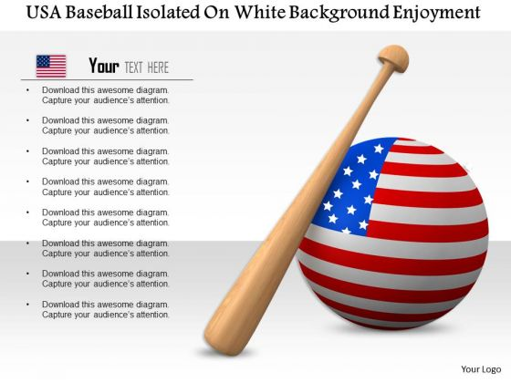 Stock Photo Usa Baseball Isolated On White Background PowerPoint Slide