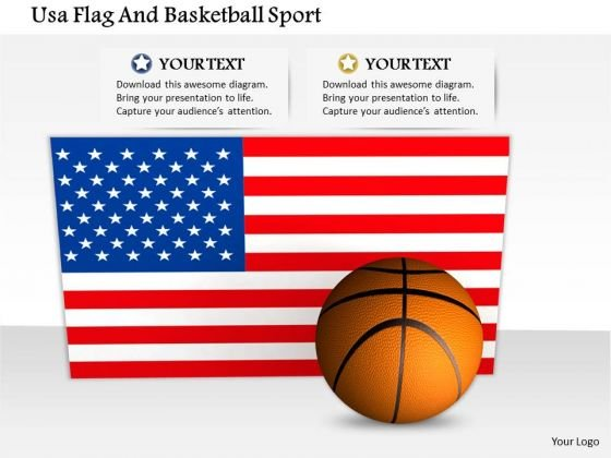 Stock Photo Usa Flag And Basketball For Sports PowerPoint Slide