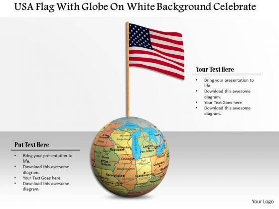Stock Photo Usa Flag On Globe For Success PowerPoint Slide