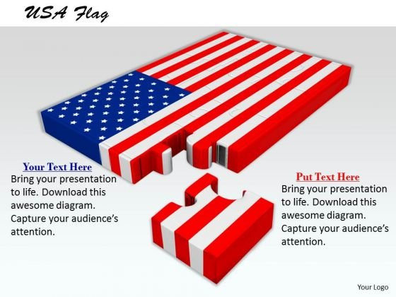 Stock Photo Usa Flag With Missing Puzzle Piece PowerPoint Slide