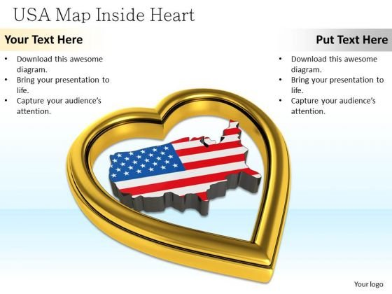 Stock Photo Usa Map Inside Golden Heart PowerPoint Slide