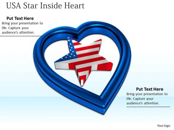 Stock Photo Usa Star Inside Blue Heart Symbol PowerPoint Slide