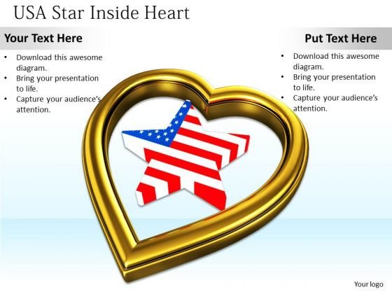 Stock Photo Usa Star Inside Golden Heart Symbol PowerPoint Slide