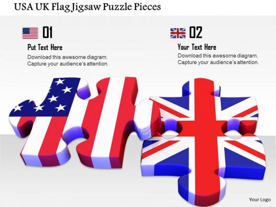 Stock Photo Usa Uk Flag Jigsaw Puzzle Pieces PowerPoint Slide