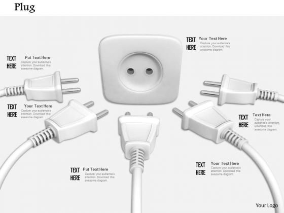 Stock Photo Various White Plugs And One Socket PowerPoint Slide