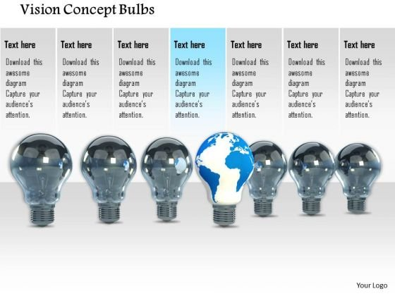 Stock Photo Vision Concept Bulbs PowerPoint Slide