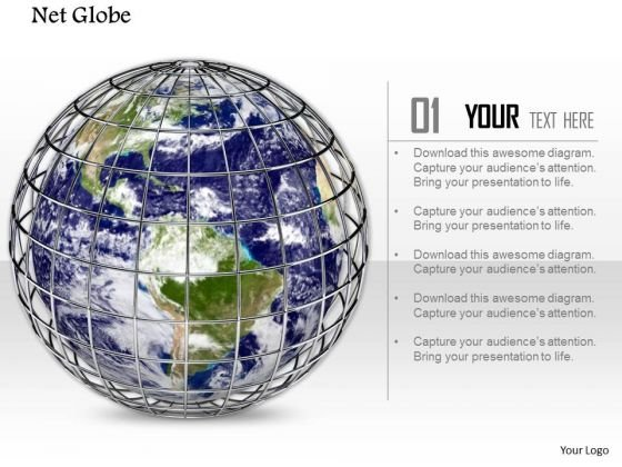 Stock Photo Web Around Globe Internet Concept PowerPoint Slide