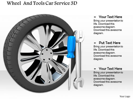 Stock Photo Wheels With Service Tools PowerPoint Slide