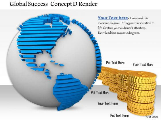 Stock Photo White Colored Globe Textured Map Gold Coins PowerPoint Slide