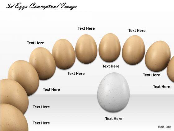 Stock Photo White Egg In Center Of Brown Eggs Shows Leadership PowerPoint Slide