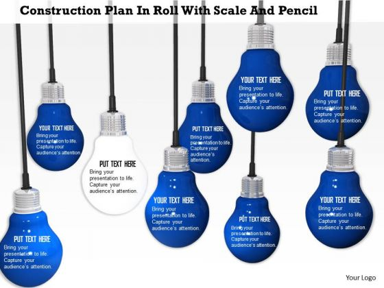 Stock Photo White Glowing Bulb In Blue Bulbs PowerPoint Slide