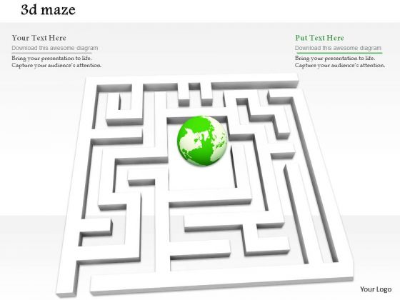 Stock Photo White Maze With Globe In Middle Problem Solving