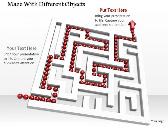 Stock Photo White Maze With Red Solution Path PowerPoint Slide
