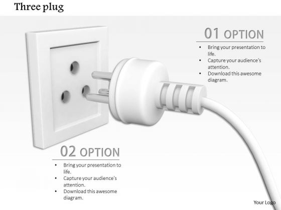 Stock Photo White Plug On Socket For Power Supply Pwerpoint Slide