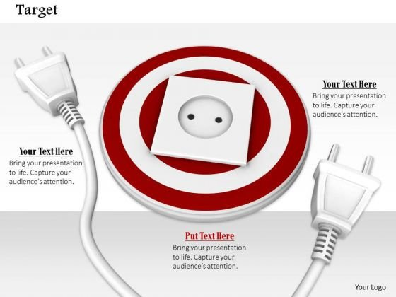 Stock Photo White Plugs Around Target Socket Pwerpoint Slide