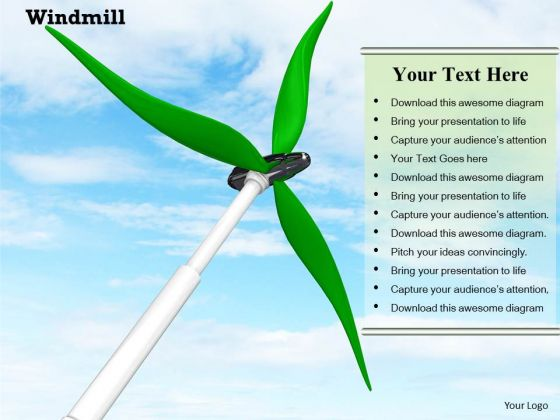 Stock Photo Windmill With Blue Sky PowerPoint Slide