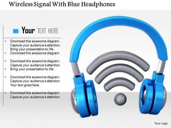 Stock Photo Wireless Signal With Blue Headphones PowerPoint Slide
