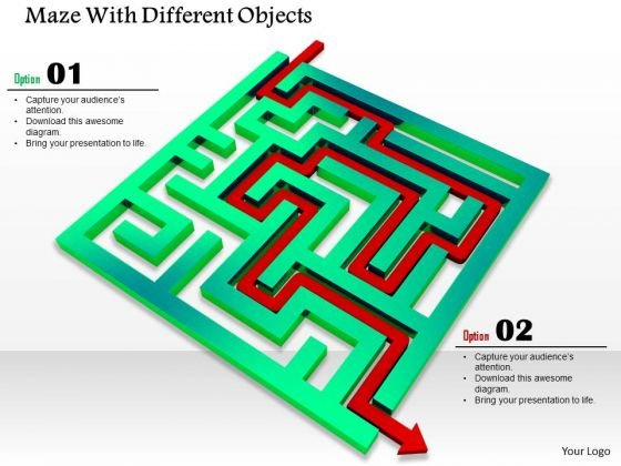 Stock Photo With Red Arrow To Show Solution Of Maze PowerPoint Slide
