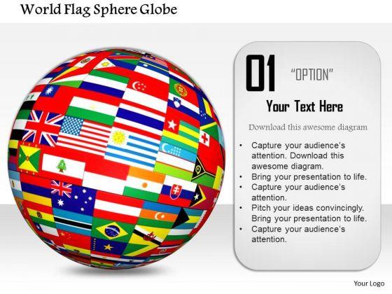 Stock Photo World Flag Sphere Globe PowerPoint Slide