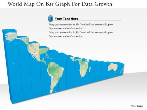 Stock Photo World Map On Bar Graph For Data Growth Image Graphics For PowerPoint Slide