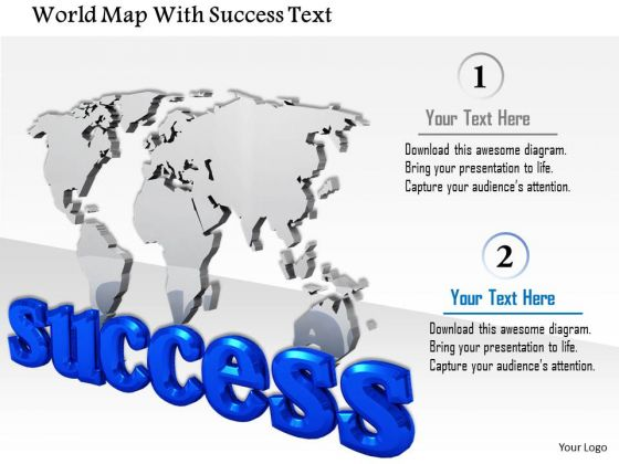 Stock Photo World Map With Success Text PowerPoint Slide
