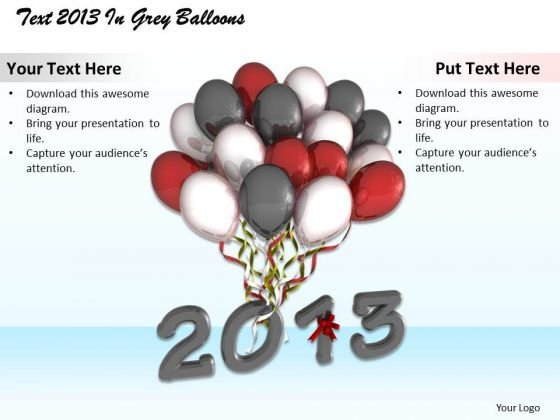 Stock Photo Year 2013 With Bunch Of Balloons Pwerpoint Slide