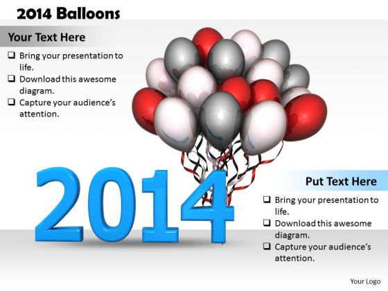 Stock Photo Year 2014 With Balloons For Celebration PowerPoint Slide