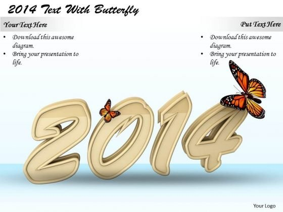 Stock Photo Year 2014 With Butterfly PowerPoint Slide