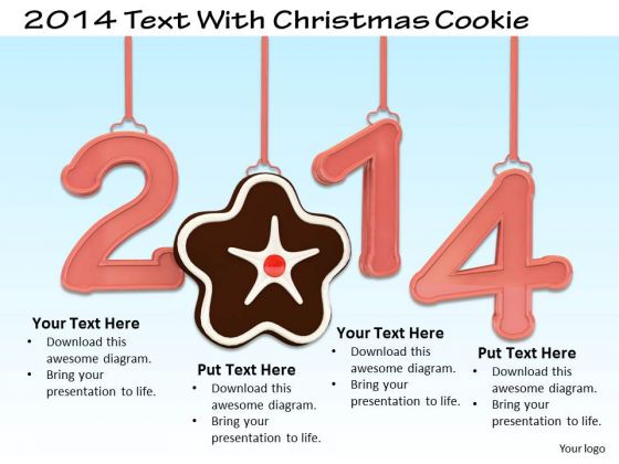 Stock Photo Year 2014 With Christmas Cookie PowerPoint Slide