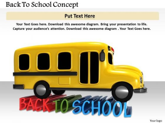 Stock Photo Yellow Bus For Back To School PowerPoint Slide