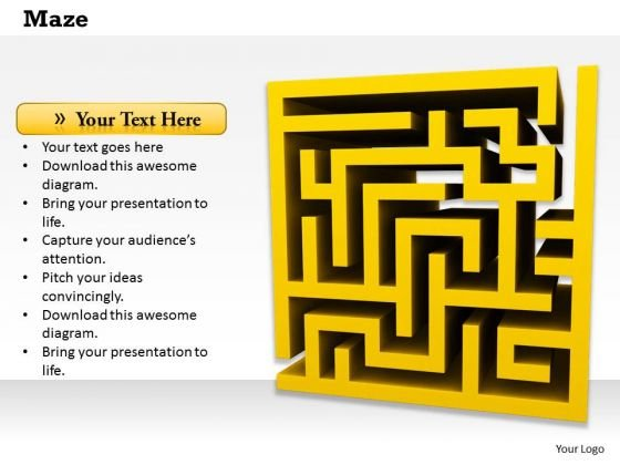 Stock Photo Yellow Colored Maze PowerPoint Slide