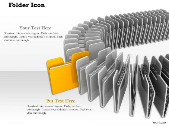 Stock Photo Yellow Folder Standing Out From Others PowerPoint Slide