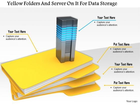 Stock Photo Yellow Folders And Server On It For Data Storage Image Graphics For PowerPoint Slide