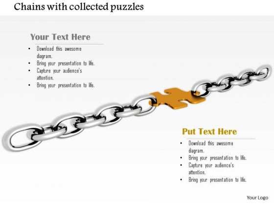 Stock Photo Yellow Puzzle Link In Silver Chain PowerPoint Slide