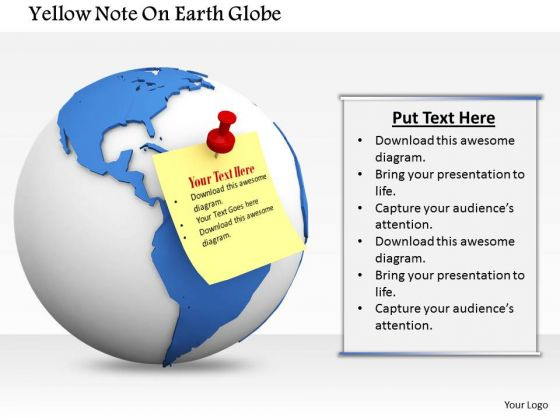 Stock Photo Yellow Sticky Note On Earth Globe PowerPoint Slide