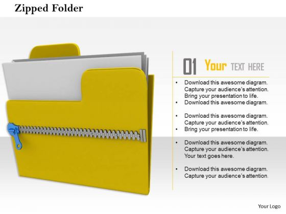 Stock Photo Yellow Zipped Folder With Files PowerPoint Slide
