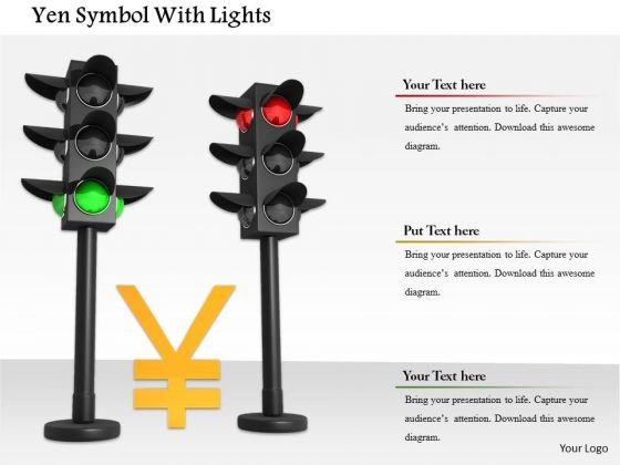 Stock Photo Yen Currency Symbol In Traffic Lights PowerPoint Slide
