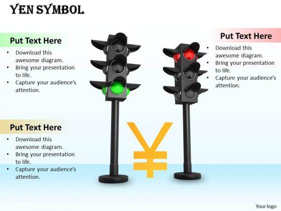 Stock Photo Yen Symbol In Between Traffic Lights PowerPoint Slide