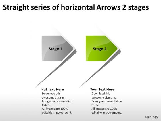 Straight Series Of Horizontal Arrows 2 Stages Ppt Tech Support Business PowerPoint Templates