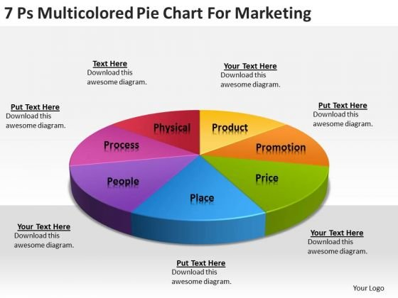 Strategy PowerPoint Template 7 Ps Multicolored Pie Chart For Marketing Ppt Slides