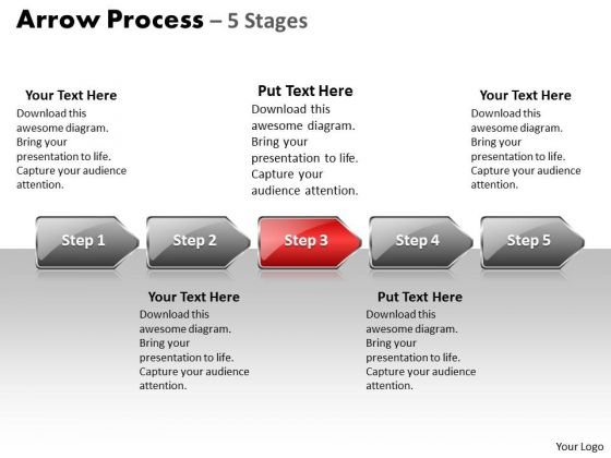Strategy PowerPoint Template Arrow Process 5 Stage Style 1 Design