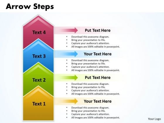 Strategy PowerPoint Template Arrow Steps 4 Stages Business Management Graphic