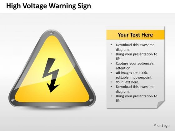 Strategy PowerPoint Template High Voltage Warning Sign Ppt Templates